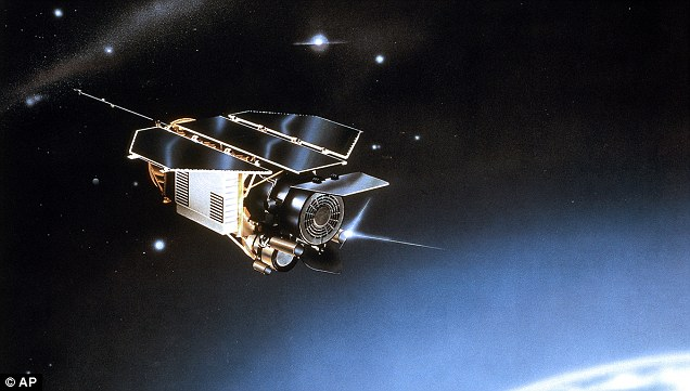 An artist's impression of the Rosat satellite, a German satellite launched in 1990 which came 'perilously close' to crashing into Beijing last October