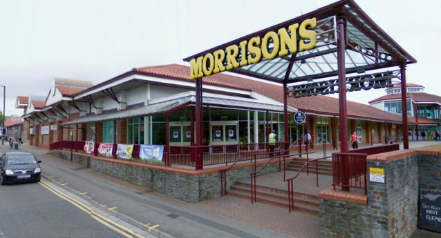 Shocking: Morrisons in Fishponds, Bristol, where the pregnant mother was punched in the stomach and robbed as she put her daughter in the car