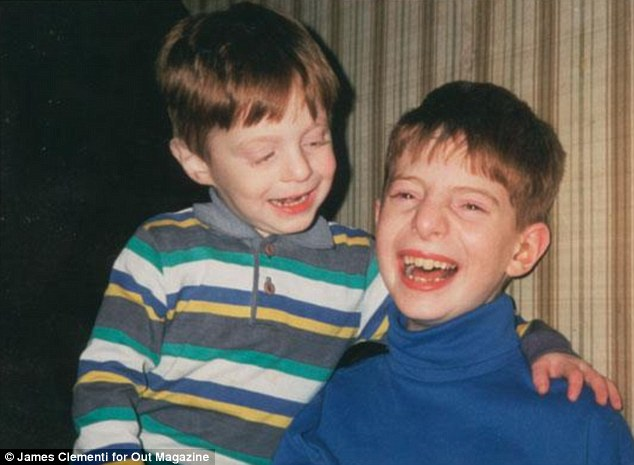 Happy siblings: Tyler Clementi fatally jumped from the George Washington Bridge between New Jersey and New York. Here he is pictured left with his older brother James, right, as children