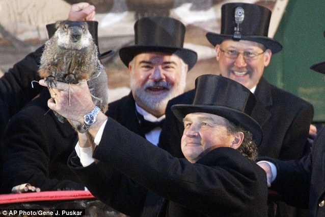 Crowd pleaser: Despite Punxsutawney Phil waking up Thursday morning to see his shadow, forecasting six more weeks of winter weather, the crowd was exuberant and happy to see him