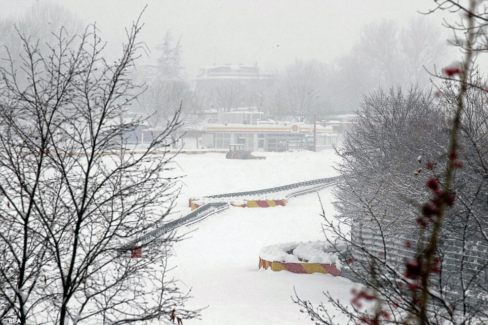 The snow covered Ferrari test track at the sports car manufacturer's headquarters in Maranello, near Modena, northern Italy