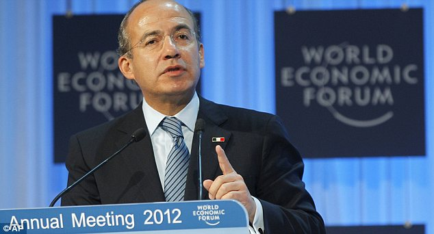 Fight: The find has resulted in a war of words between Mexican President Felipe Calderon, pictured here last week, and leading presidential candidate Enrique Pena Nieto