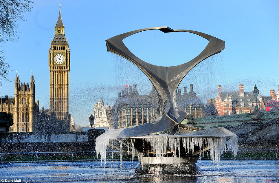 London ice: The fountain next to Westminster Bridge demonstrates how low the temperatures have dropped in London