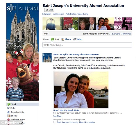 St Joseph's University backed down after an angry backlash and posted a statement along with the couple's entry on its page, pictured, yesterday