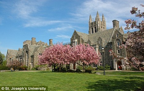 Saint Joseph's University, pictured, eventually allowed the couple to enter claiming to be 'a welcoming, inclusive community' which focuses 'on respect and caring for all individuals as individuals'