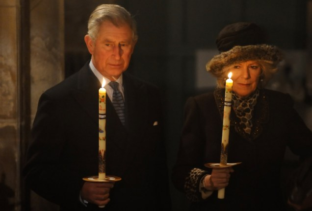 Prince Charles and the Duchess of Cornwall attend a Candlemas service at Saint Michael's Church in Camden, north London today