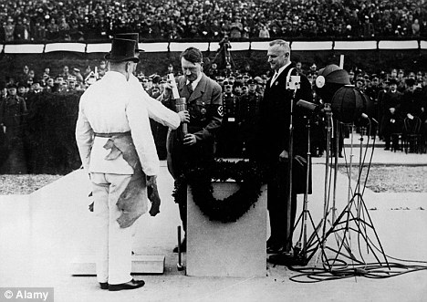 Honoured: Adolf Hitler at a ceremony in which a monument to composer Richard Wagner was unveiled