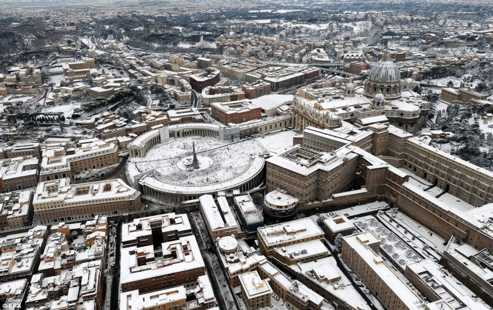 Breathtaking: Historical sights including St Peter's Square in Vatican City looked as if they had been frozen in time