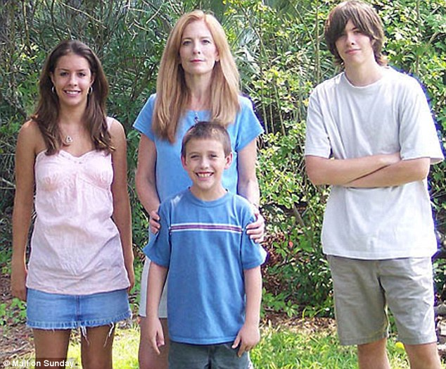 Mary Leitao with her children and young son, Drew, who developed the unexplained condition