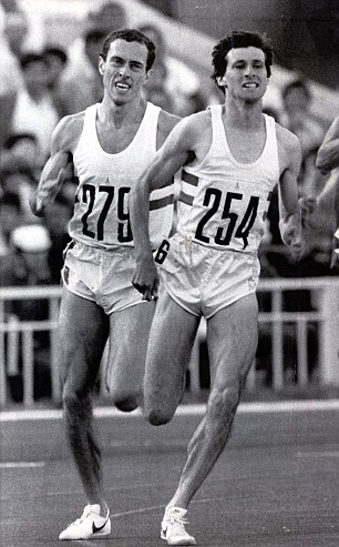 Kicking clear: Coe and Ovett enter the homestretch of the men's 1500m in Moscow