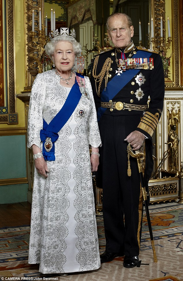 Long to reign over us: The new portrait of the Queen and Prince Philip by photographer John Swannell that has been released on the 60th anniversary of Her Majesty's accession to the throne