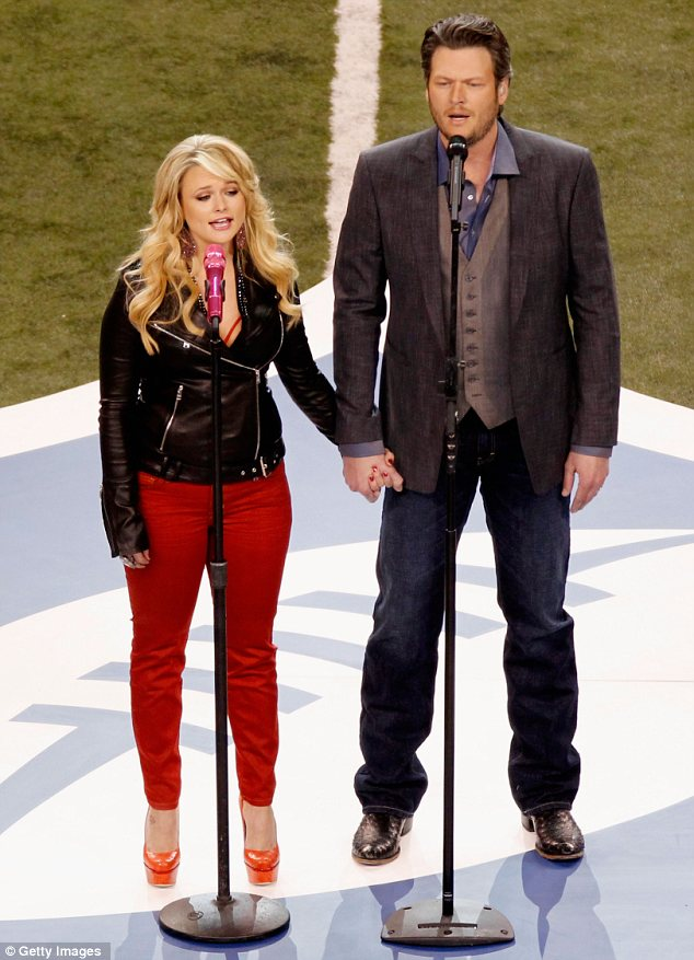 Cute couple: Blake Shelton and Miranda Lambert were first to perform at the sports event