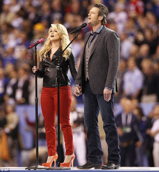 Taking the stage: The couple performed patriotic song America the Beautiful