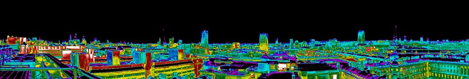 Green? While large parts of London appear energy efficient, other areas show large amounts of radiation, with possible causes including lighting empty car parks and shopping centres keeping display lights on