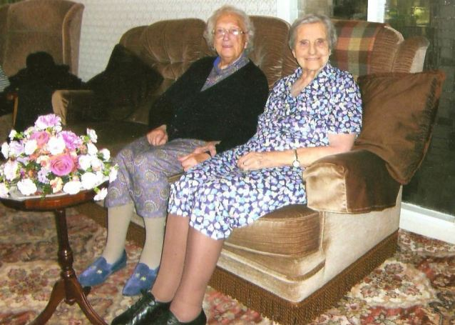 Bosom buddies: Evelyn, left, and Edith out their long lives down to hard work and family