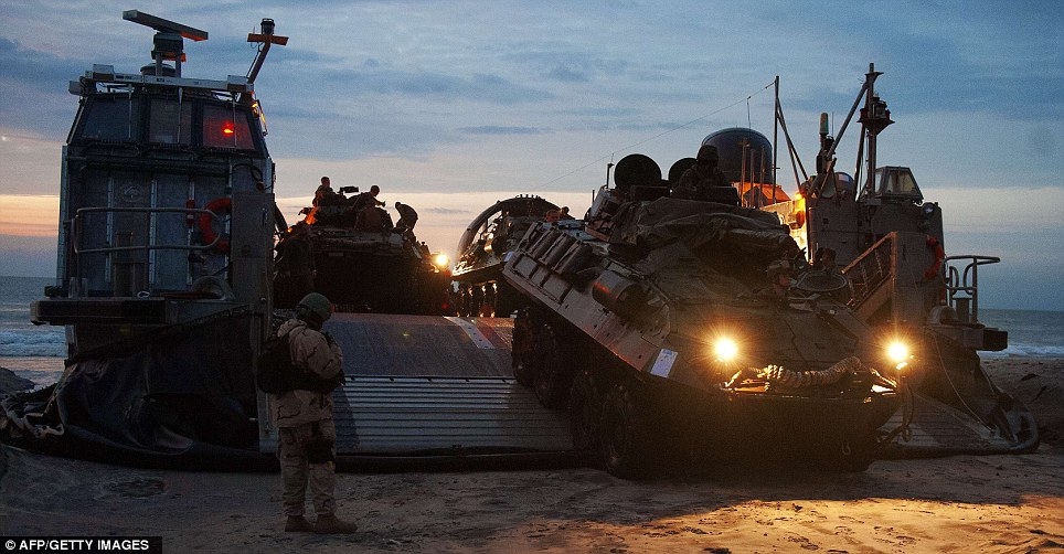 Mission: Another vehicle carrying troops rolls off the hovercraft