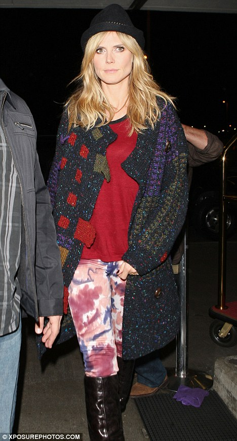 That's a no from us: Project Runway host Heidi Klum donned a mismatched ensemble at LAX last night
