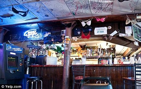 South Street bar: Bras hang from the ceiling in the bar were the pair are said to have met