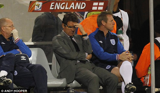Disastrous: Capello winces while watching Germany dismantle England at the 2010 World Cup