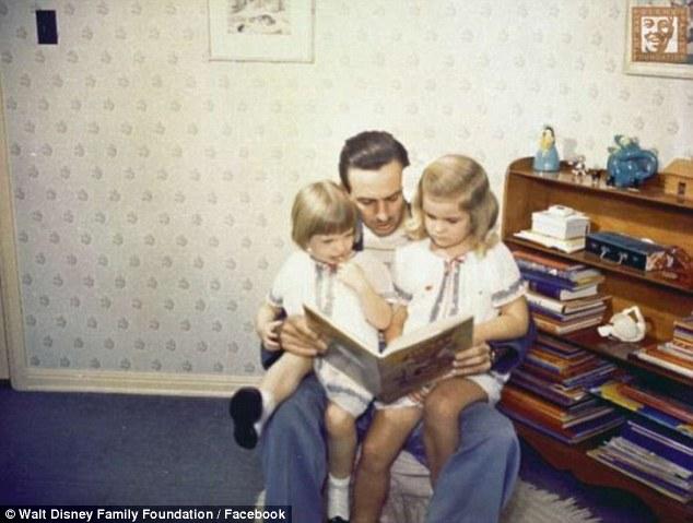 Dear dad: Walt Disney reads a book to his girls