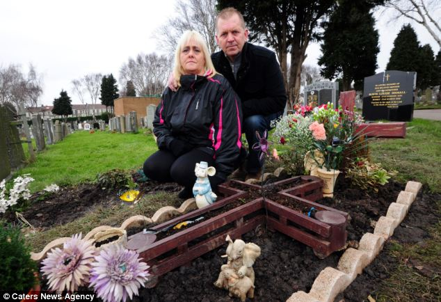 Distressed: Carol, with her brother Rob Stone, next to her mother's grave after the earth above it was dug up and then replaced following a mix-up