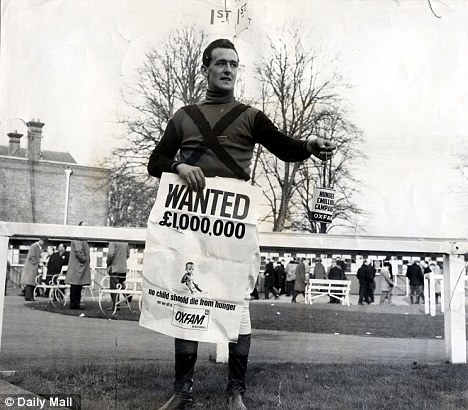 Legend: Gifford taking part in an Oxfam campaign during his time as a jockey