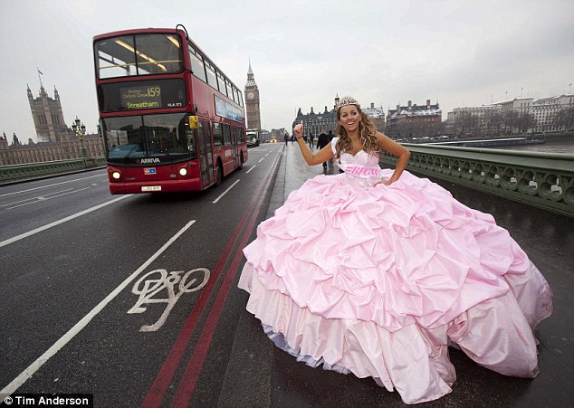 Getting hitched: Gypsy bride for the day Gem Allen made a splash in the capital today as she stepped out in a 12-stone dress by Gypsy Weddings' favourite designer Thelma Madine