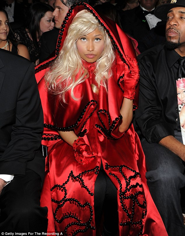 Enjoying the show: Minaj sits in the audience while watching the Grammy Awards ceremony