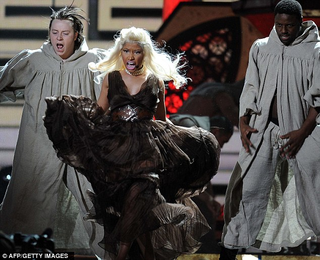 Fierce: Nicki was surrounded by dancers in monk robes, as she dominated the stage