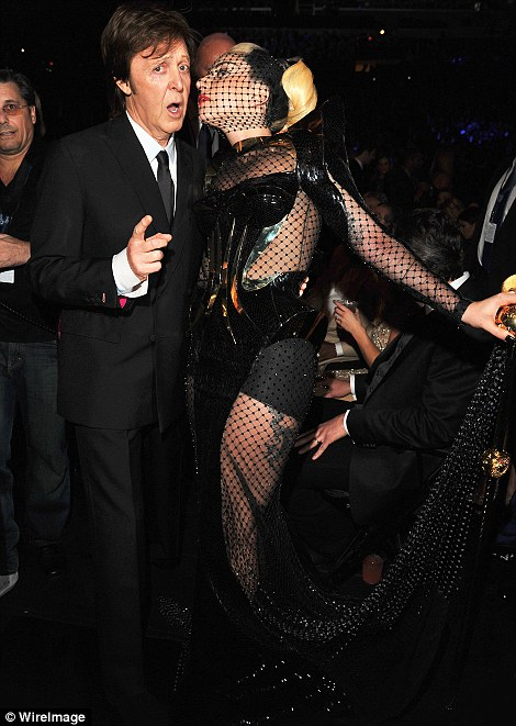 Pairings: Sir Paul McCartney and Lady Gaga strike a pose while Fergie and Marc Anthony presented an award on stage