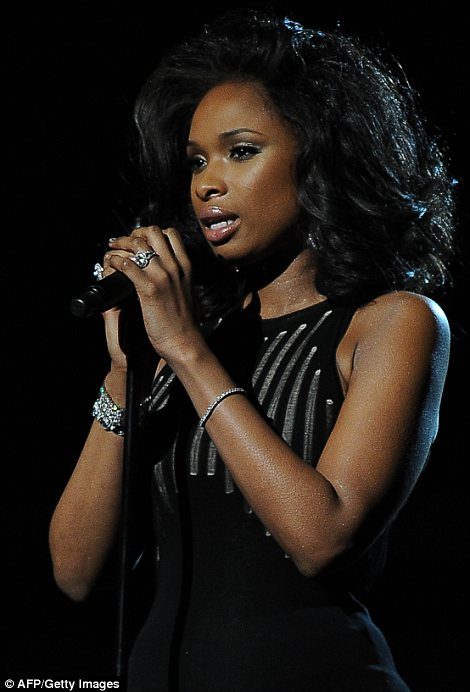Emotional: Jennifer Hudson broke down in tears as she performed I Will Always Love You as a tribute to Whitney Houston