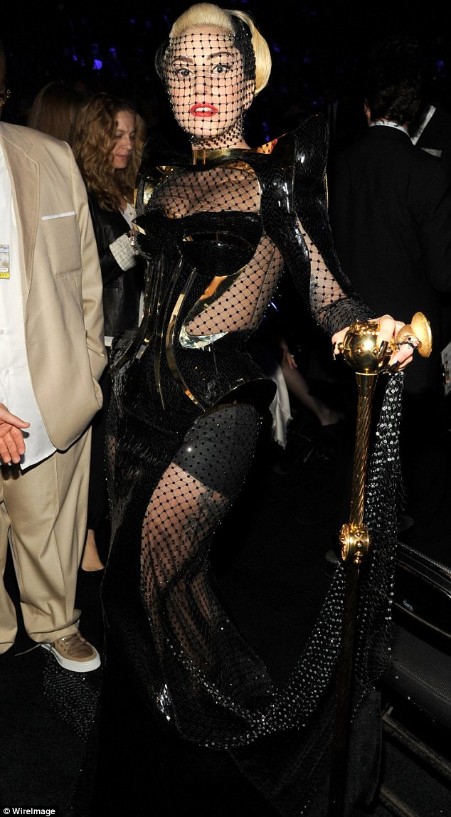 Toned down? Lady Gaga's outfit turned heads - but was not as wacky as outfits she has worn to the Grammys in the pst