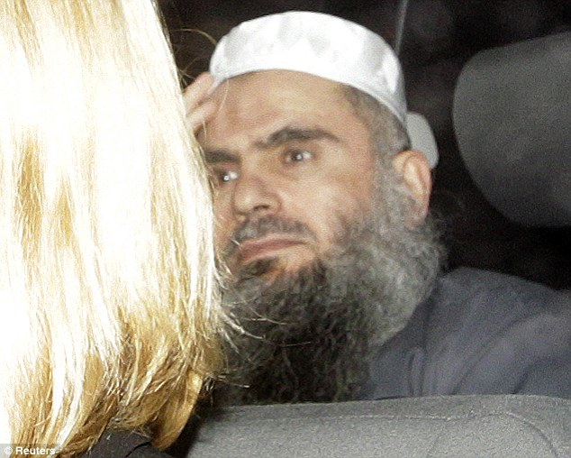 Freed on bail: Hate preacher Abu Qatada is released from Long Lartin Prison under the cover of darkness. It will cost £10,000 per week to keep him safe