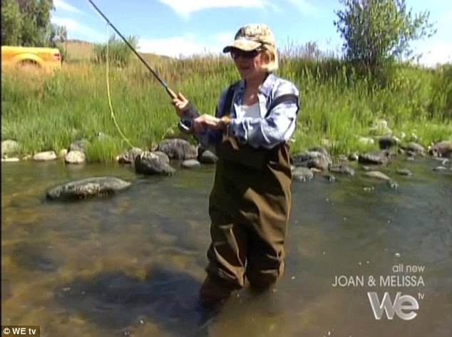 All going so well; Dressed in a pair of waders, Joan looked to be enjoying herself as she fished in a Wyoming river