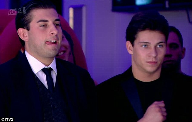 Not happy: James 'Arg' Argent was unable to contain his discontent as he spent some time at the Essex And The City Valentine's party with his friend Joey Essex