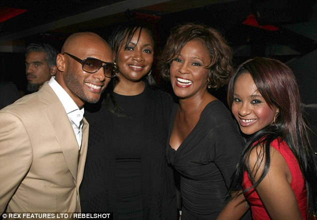 Final performance: Kenny Lattimore, Patricia Houston, Whitney and daughter Bobbi Kristina at a pre-Grammy party