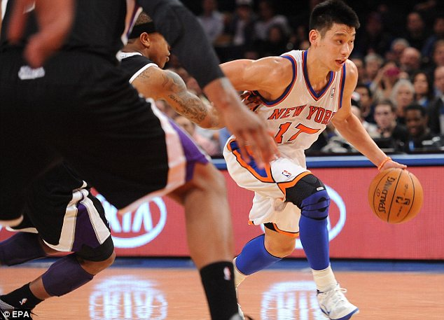 Fit to beat the Kings: Jeremy Lin brings the ball up court against the Sacramento Kings last night at Madison Square Garden