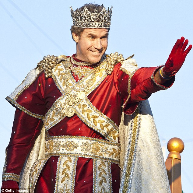 King Will, you say? Will Ferrell is serious about his duties as King of Bacchus in New Orleans' Krewe of Bacchus Parade today