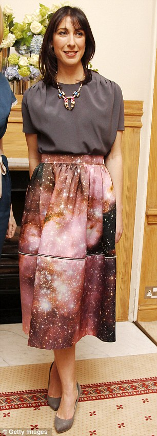 Adventurous fashion sense: Samantha Cameron chose a printed Chirstopher Kane skirt to host a London Fashion Week party at Number 10 last year