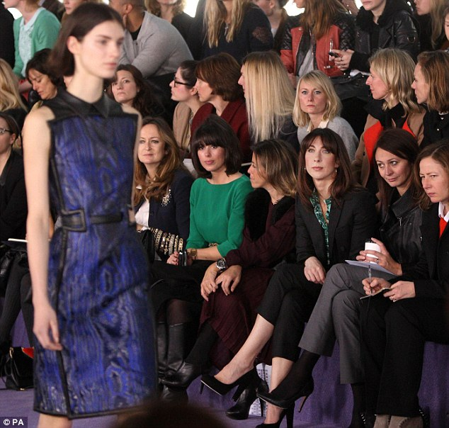 Front row: Samantha Cameron attended the Christopher Kane London Fashion Week this afternoon