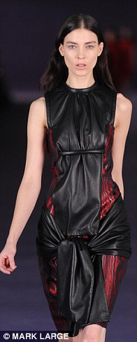 Kane created volume and texture with rippled leather-look pieces