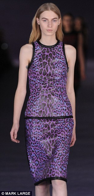 Purple leopard print on a coated pencil skirt dress with a gentle sheen