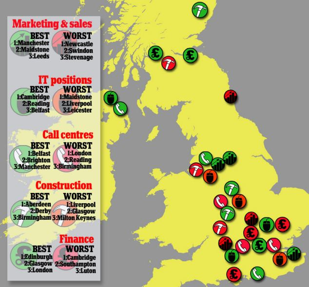 Vacancies: This map of the UK reveals the areas in which the best and worst job opportunities exist in a host of different industries