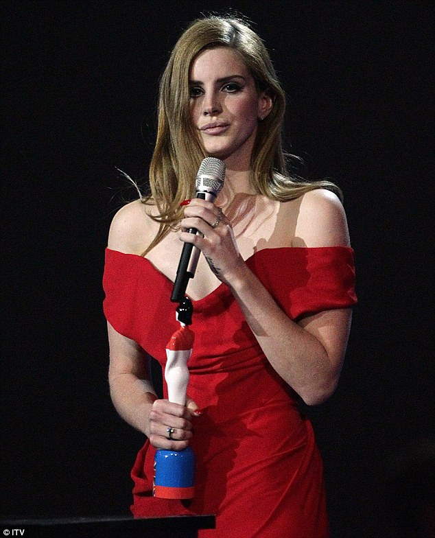 Sealing her stardom: Lana Del Rey picked up the International Breakthrough award during the evening's entertainment