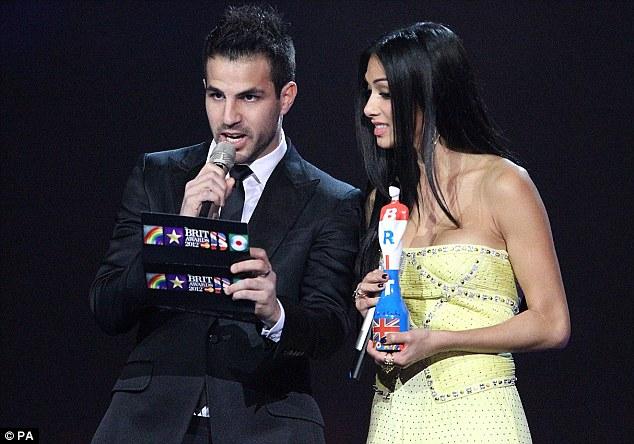 Officiating: Scherzinger and Cesc Fabregas presented an award at the huge occasion