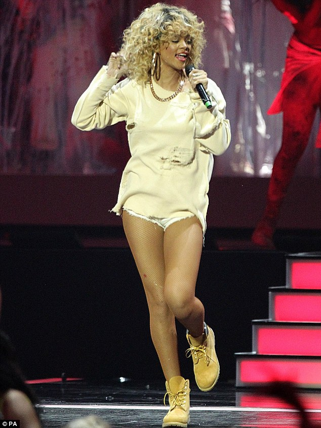 Quick change: Rihanna roughed up her image when it came to performance time