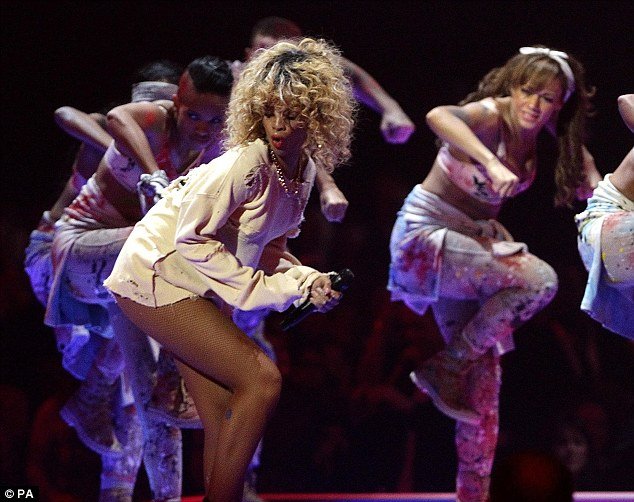Energetic: The superstar put on a very risque performance, showing her pants as she danced