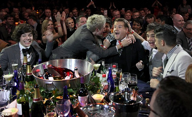 What did you say! One Direction joke around with James Corden after he joked that they shouldn't be drinking alcohol