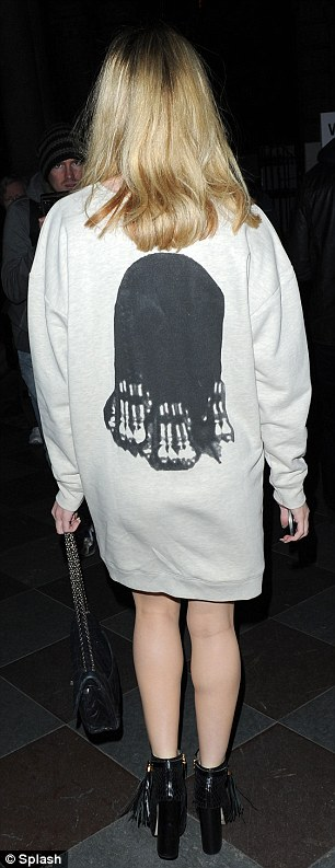 Dressed down: The Girls Aloud star arrived in a casual outfit that paid homage to the late Elizabeth Taylor