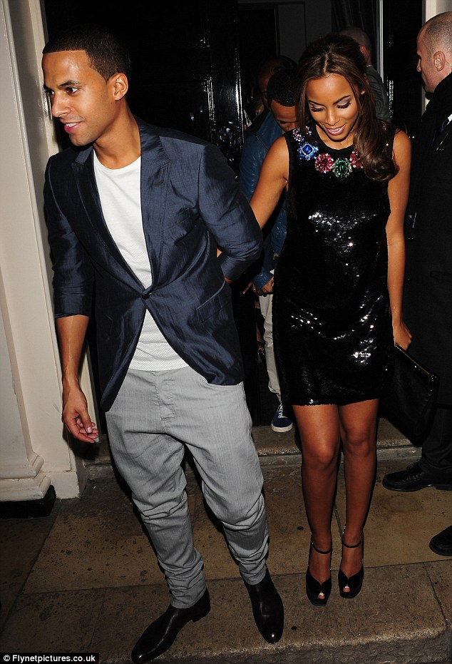 Date night: Marvin Humes joined Rochelle for a night out at the Brit Awards Sony after show party at the Notting Hill Arts Club